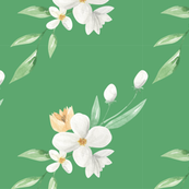 White flowers on Green