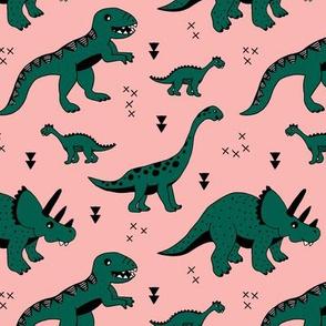 Cool Scandinavian kids dino friends dinosaur pattern girls peach dark green