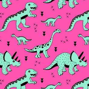 Cool Scandinavian kids dino friends dinosaur pattern girls hot pink mint