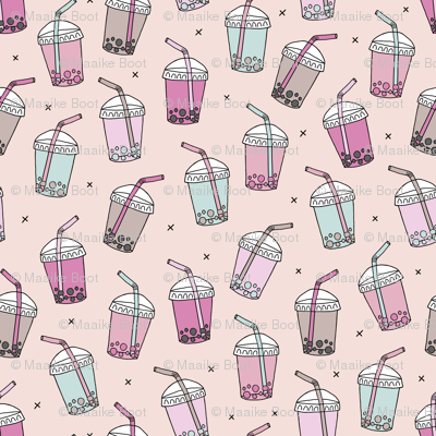 Cool celebration bubble tea to go cups with Japanese drinks on soft sand background pink peach