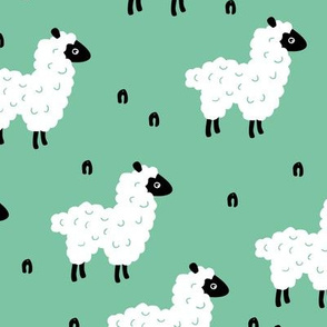 Cute little sheep design abstract white baby llama green