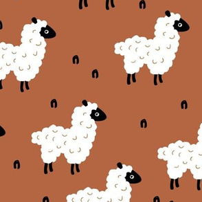 Cute little sheep design abstract white baby llama gender neutral winter rusty copper