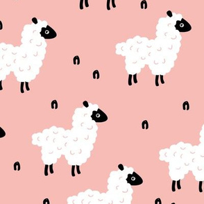 Cute little sheep design abstract white baby llama pink girls