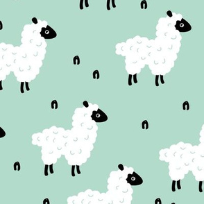 Cute little sheep design abstract white baby llama mint green
