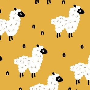 Cute little sheep design abstract white baby llama ochre yellow
