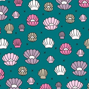 Deep sea shells and pearls mermaid theme ocean shell illustration girls pink dark blue