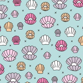 Deep sea shells and pearls mermaid theme ocean shell illustration girls pink soft blue