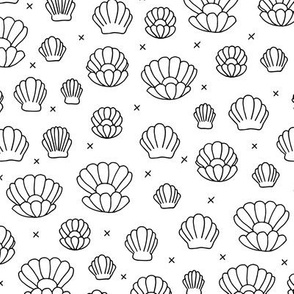 Deep sea shells and pearls mermaid theme ocean shell illustration girls monochrome black and white