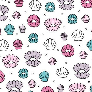 Deep sea shells and pearls mermaid theme ocean shell illustration girls pink aqua on white background