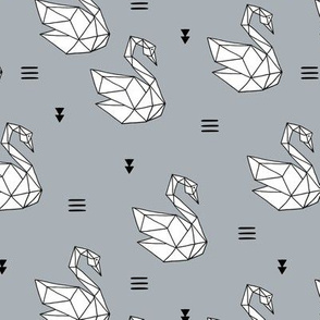 Sweet romantic geometric swan summer japanese paper origami cool gray
