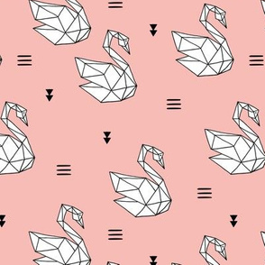 Sweet romantic geometric swan summer japanese paper origami print pink girls