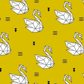 Sweet romantic geometric swan summer japanese paper origami print yellow summer