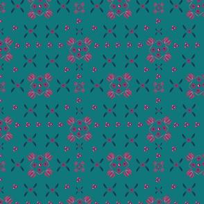 folk geometric flowers pattern