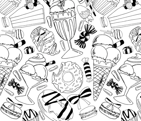 Everything sweet BW fabric by dorinus_illustrations on Spoonflower - custom fabric