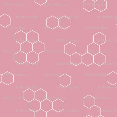 Abstract geometric honeycomb bee lovers honey print pink
