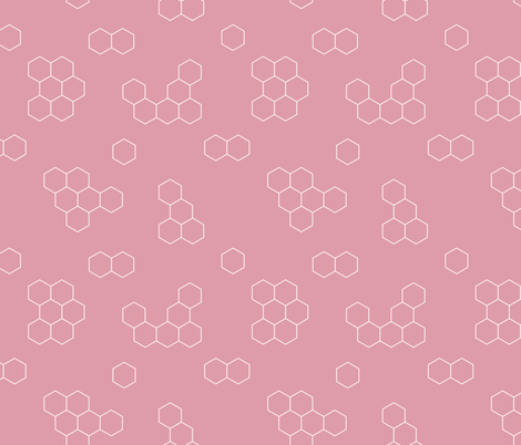 Abstract geometric honeycomb bee lovers honey print pink fabric by littlesmilemakers on Spoonflower - custom fabric