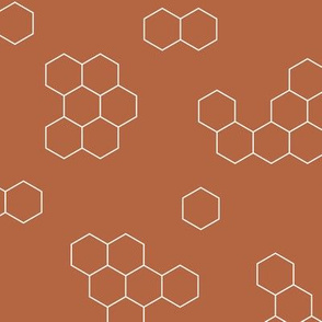 Abstract geometric honeycomb bee lovers honey print rusty copper