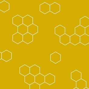 Abstract geometric honeycomb bee lovers honey print ochre yellow