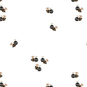 Cute little bumble bee spring summer print design black and white copper beige gender neutral