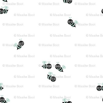 Cute little bumble bee spring summer print design black and white mint