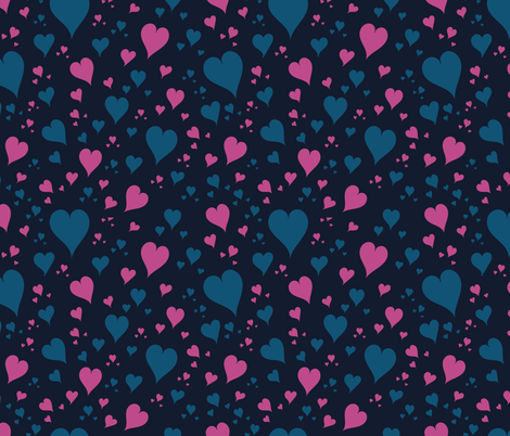 pink and blue hearts fabric by pimprenellestudio on Spoonflower - custom fabric