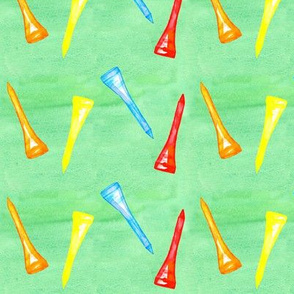 Golf Tees on Green