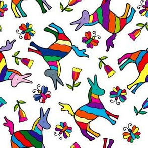 Mexican Otomi Rainbow Donkeys, Butterflies and Flower