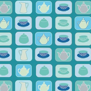 checkerboard teapots teacups