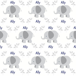 Elephants in Row Gray6 - Gray leaf Navy text PERSONALIZED Ally