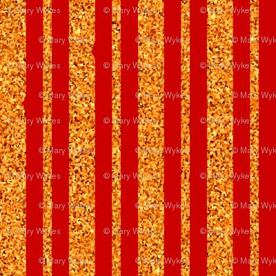 CD35 - Deep Orange and Peach Sparkle Stripe