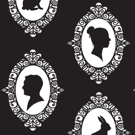 Victorian ovals  / black & white fabric by franbail on Spoonflower - custom fabric