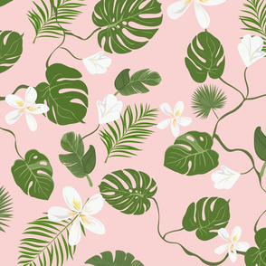 Tropical floral pink pattern