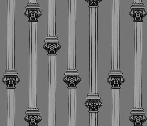 columns on grey fabric by b0rwear on Spoonflower - custom fabric