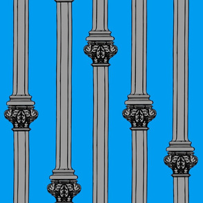 columns on blue