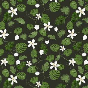 Dark night Tropical Floral pattern