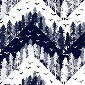 forest chevron navy