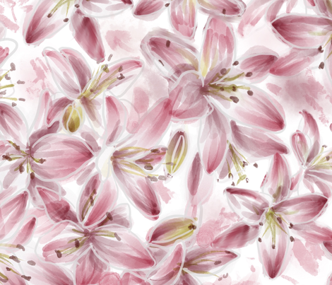 LILIES fabric by odettel on Spoonflower - custom fabric