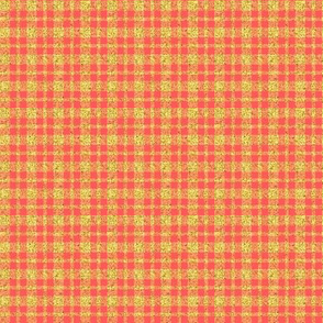 CD47  - Mini Gold Sparkle and Coral Plaid