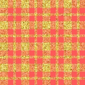 CD47  - Large  Sparkly Gold and Coral Plaid