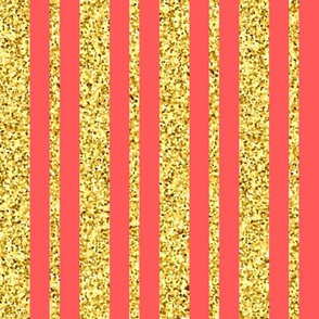 CD47  - Large  Gold Sparkle Stripes on Coral