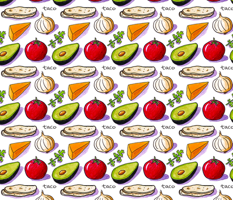 Taco Ingredients fabric by michellemarquesillustration on Spoonflower - custom fabric