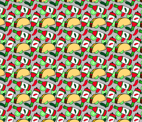 Tacos, Hot Sauce and Limes Mexican Food on Gray fabric by twix on Spoonflower - custom fabric