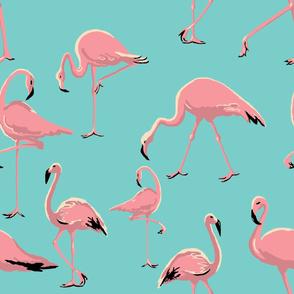 Flamingos light turquoise large scale