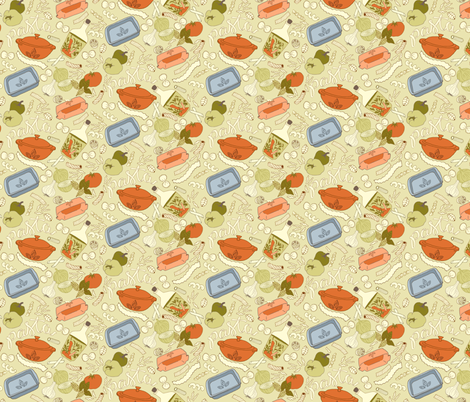 Nonna's Pasta Casserole - muted fabric by denise_ortakales on Spoonflower - custom fabric