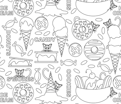 Kitty Food Frenzy Lake Coloring Book fabric by applebutterpattycake on Spoonflower - custom fabric