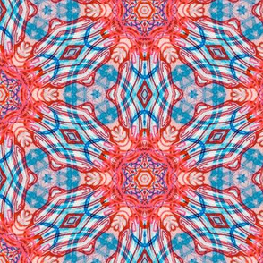 psychedelic plaid in aqua and coral
