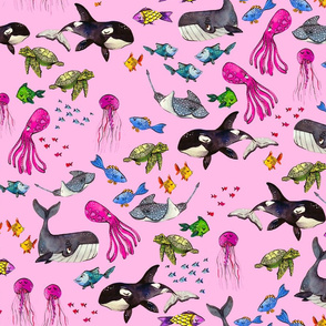Ocean Pals - Pink Version - Medium Scale