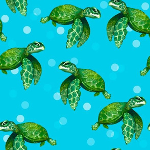 Bright Sea Turtles on Bright Ocean Blue with Bubbles