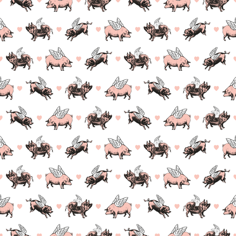 Vintage Flying Pigs fabric by eclectic_at_heart on Spoonflower - custom fabric
