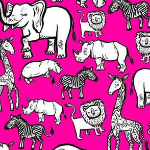 Black Ink Animals on Pink